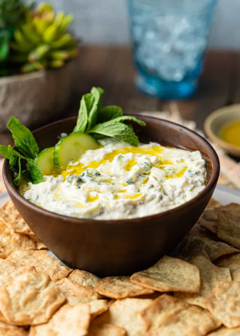 crackers scattered around bowl of authentic tzatziki sauce