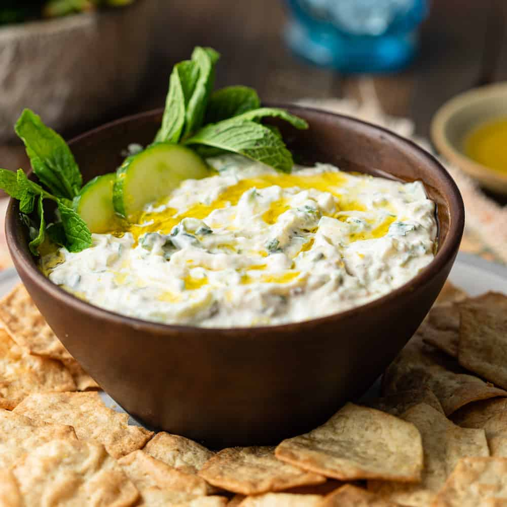 bowl full of Greek gyro sauce