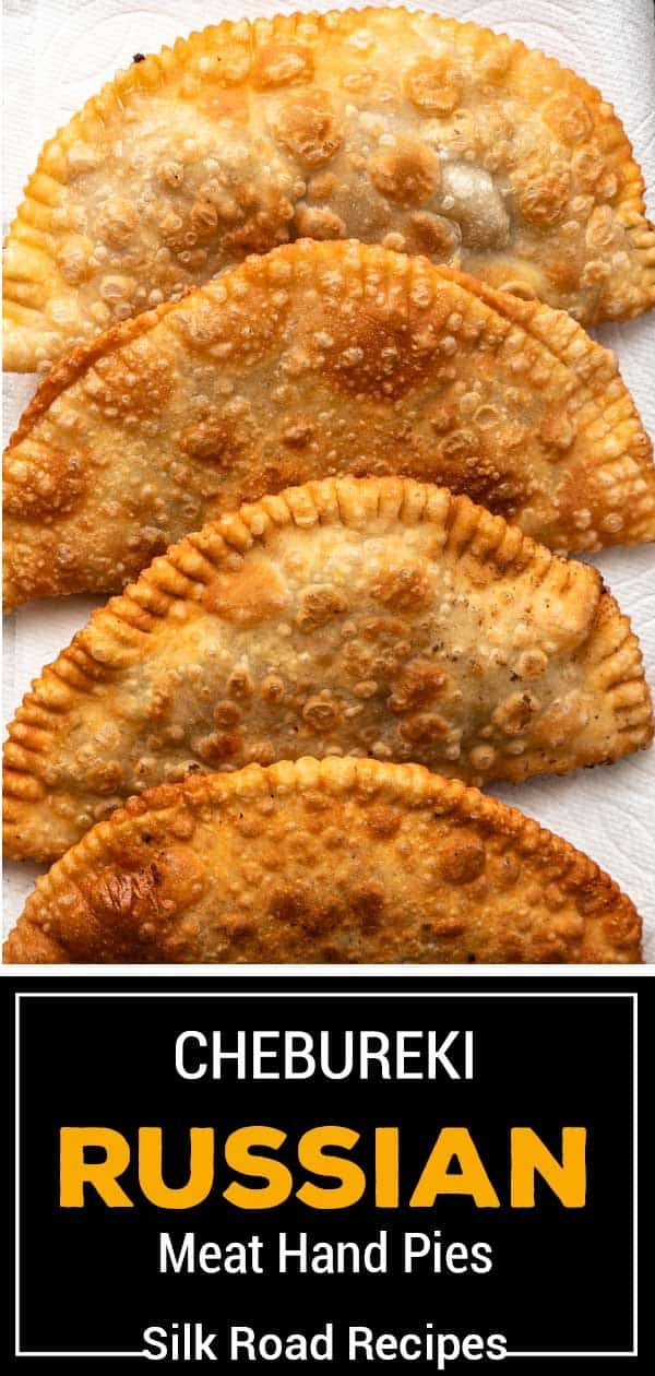 titled image for Pinterest shows deep fried Chebureki