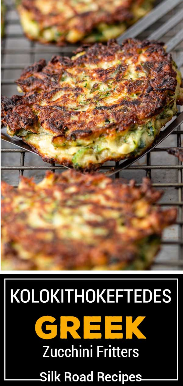 titled image for Pinterest shows pan fried squash patties