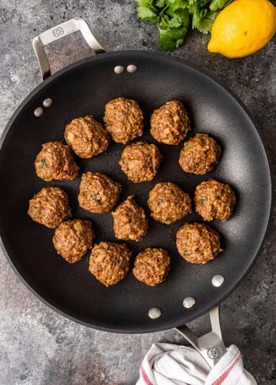 steamed chicken meatballs in skillet