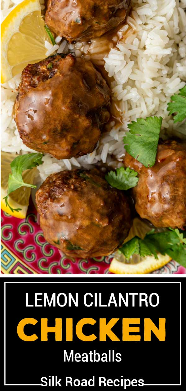 titled image shows closeup of ground chicken meatballs over white rice