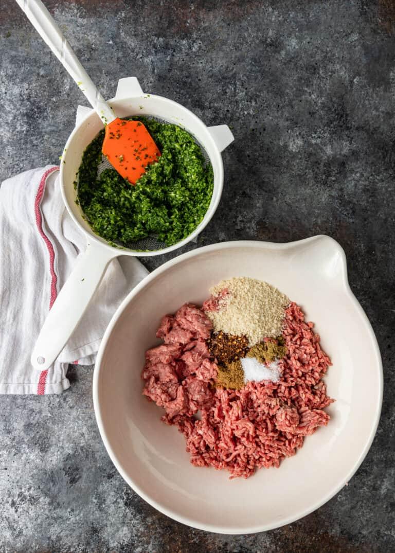 ingredients in mixing bowls to make a kefta recipe
