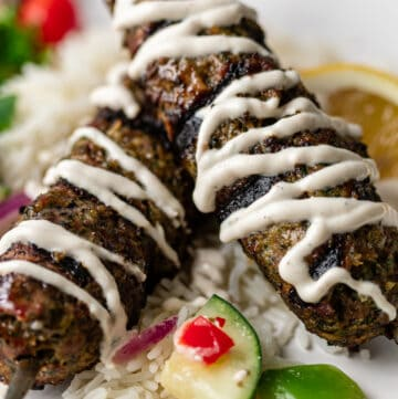 close up image of Moroccan kefta ground beef kabobs