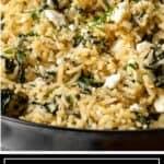 titled image for Pinterest shows bowl full of Greek spanakorizo