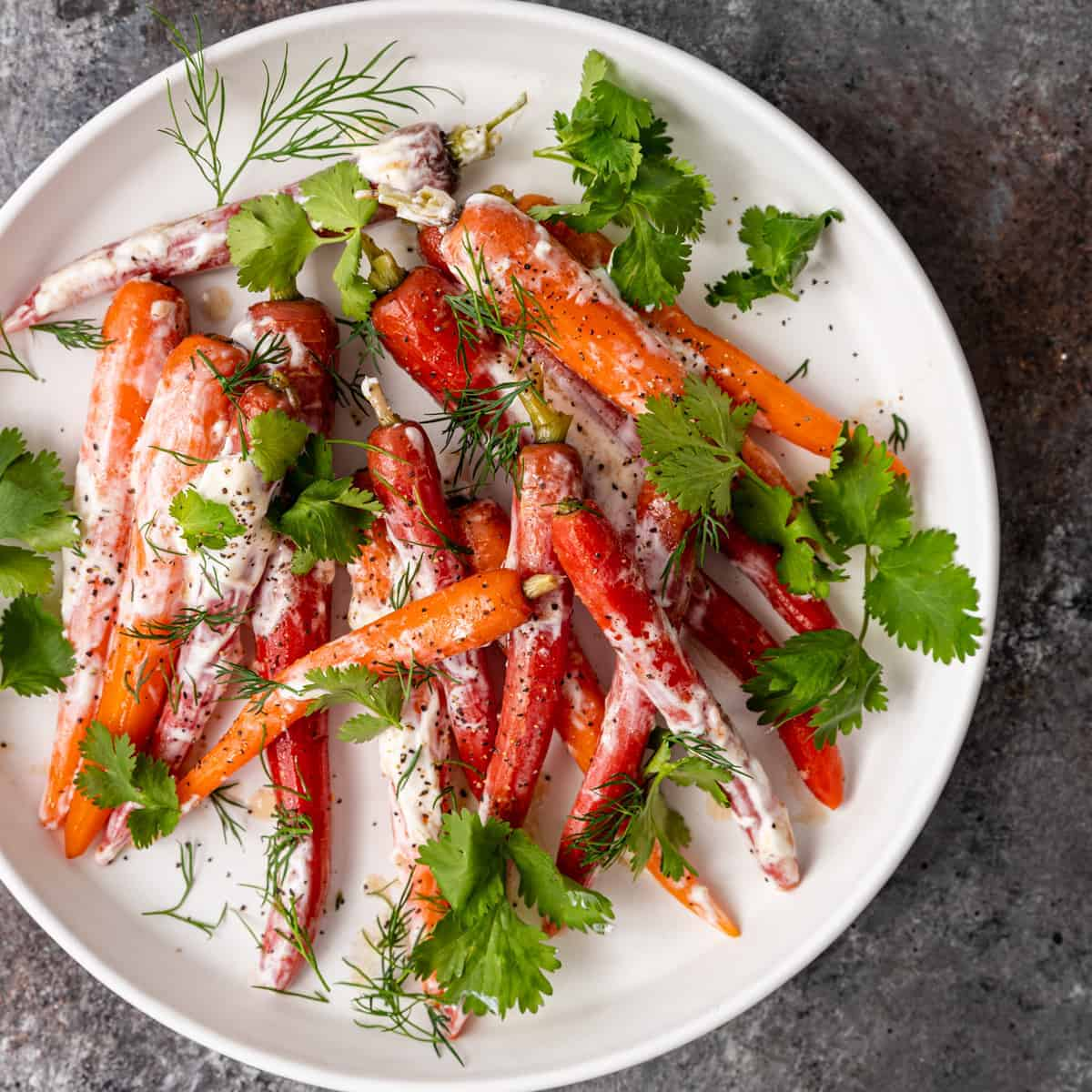 overhead: round white plate of Moroccan carrots with yogurt sauce and garnish of fresh dill and cilantro