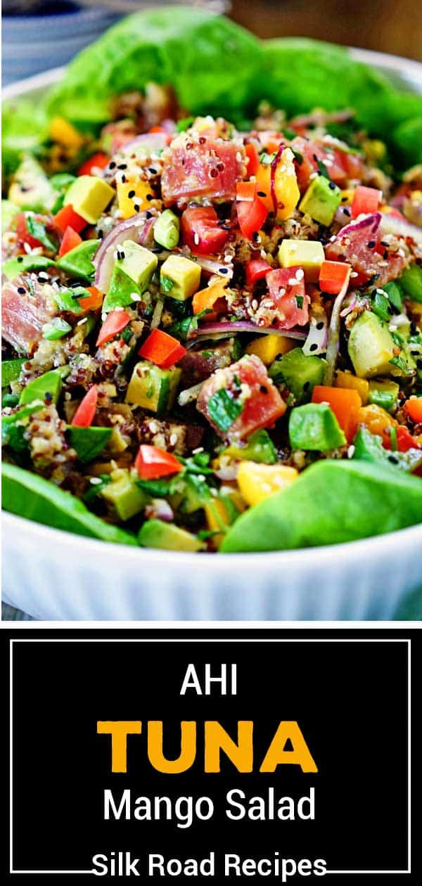 titled image for Pinterest shows Japanese poke bowl with raw tuna steak