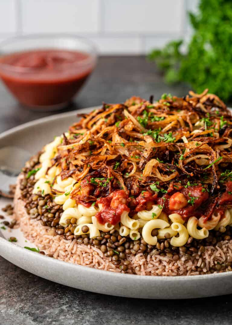 side view of Middle Eastern rice, lentil and pasta side dish, koshari
