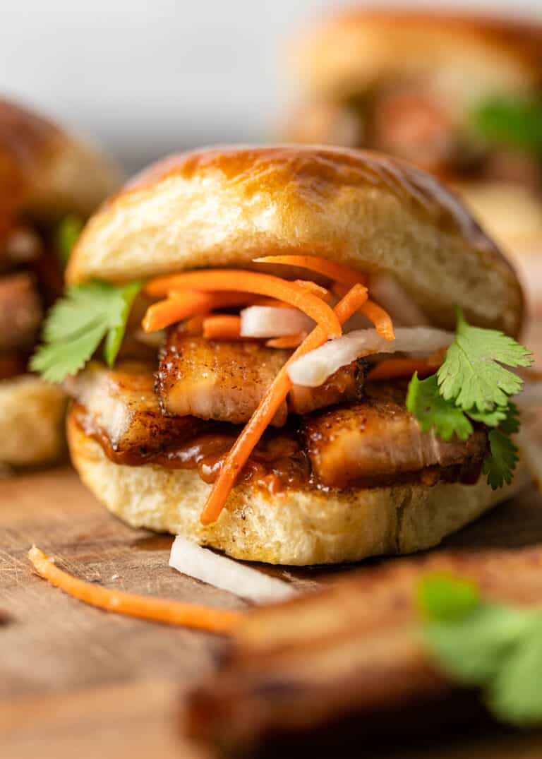 close up of spicy Asian sandwich on soft bun