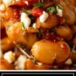 titled image shows close up of Greek beans on a spoon