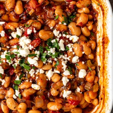 overhead image of Mediterranean baked beans