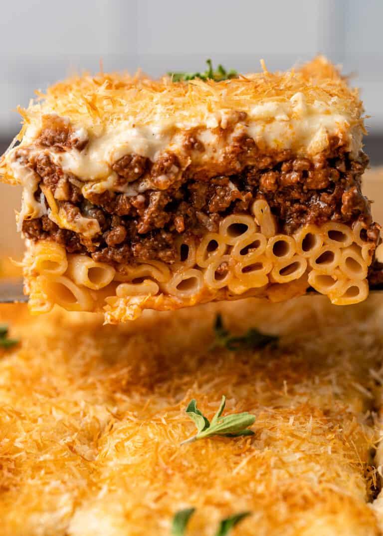 close up: serving of pasticcio baked pasta