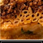titled image shows serving of pastichio baked pasta