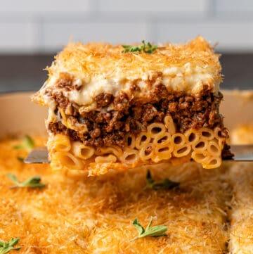 slice of greek lasagna shown close up