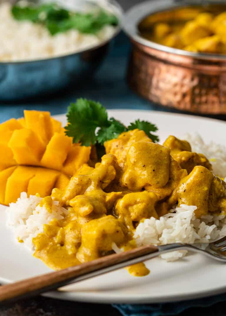 Indian meal of mango chicken served over white rice