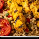 titled image for Pinterest shows Persian joojeh kabob close up served over couscous