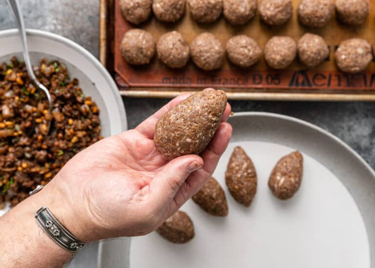shaping meat mixture for ground lamb kibbeh