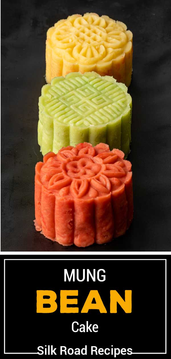 titled image for Pinterest shows mung bean cake in 3 flavors and colors, beet red, matcha green and custard yellow