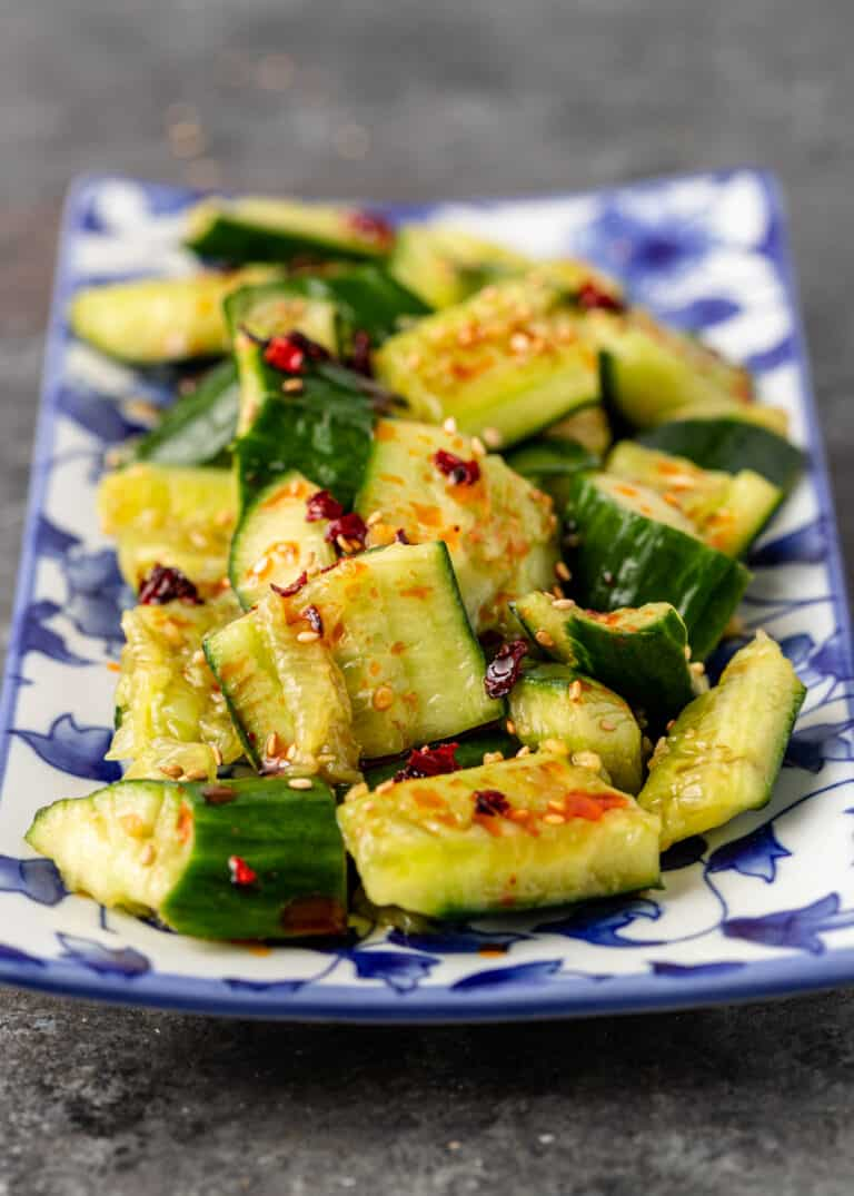 plate of spicy smashed cucumbers