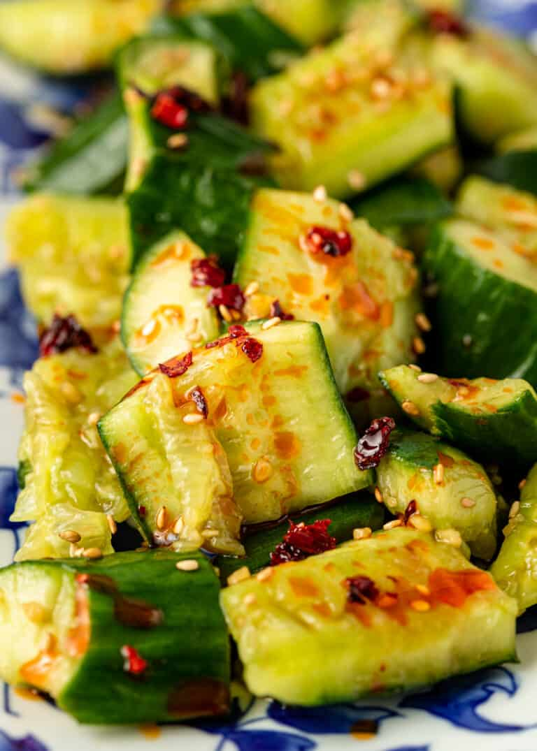 extreme close up of pai huang gua - a Chinese smashed cucumber salad