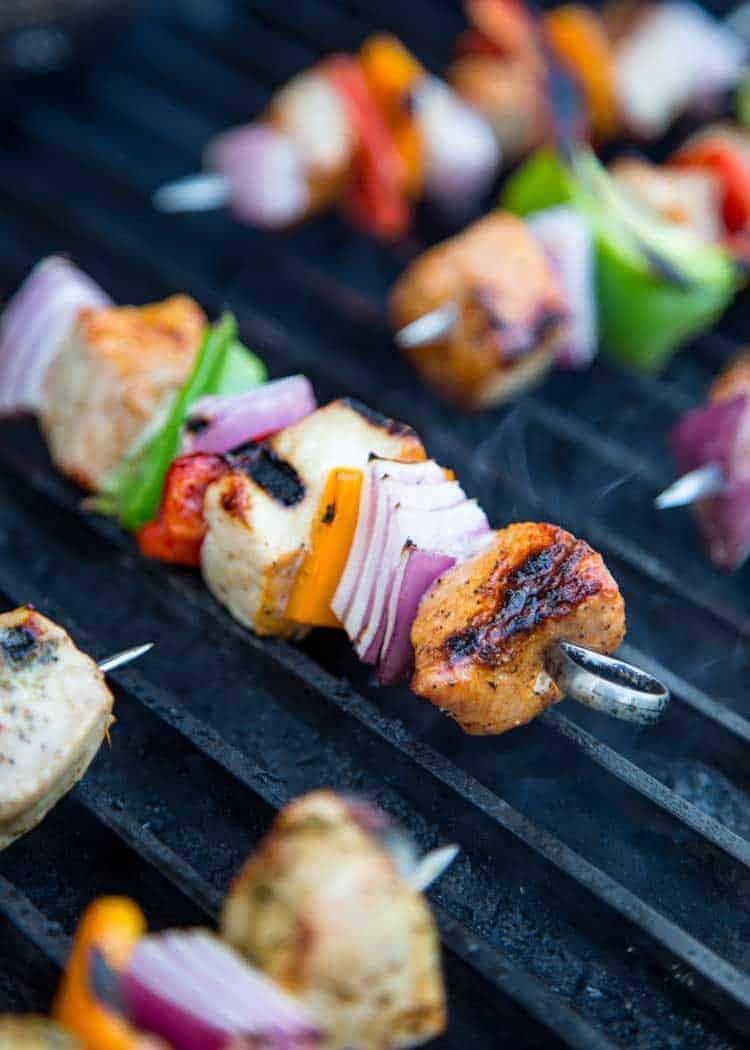 grilling pork and vegetable kebab