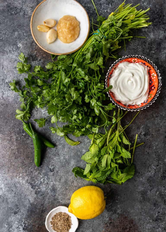 overhead: fresh ingredients to make cilantro mint chutney