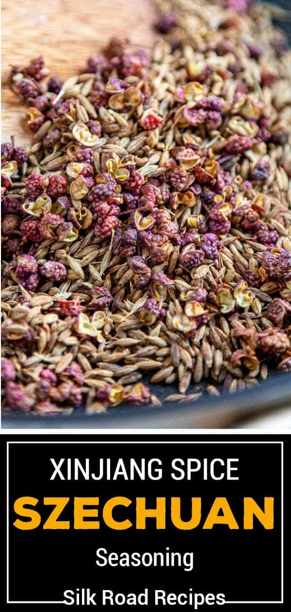 titled image: bowl of whole red peppercorns, cumin seeds, and other whole spices for Asian seasoning