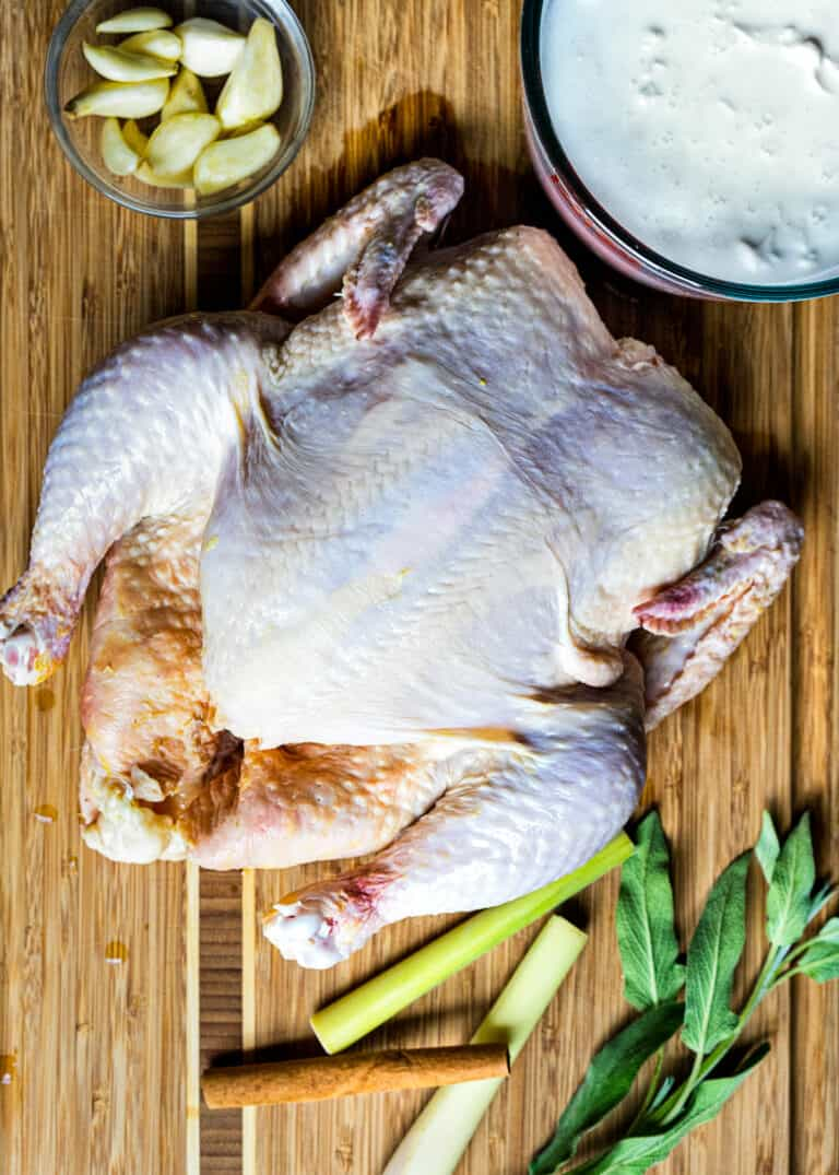 overhead: uncooked ingredients to make whole chicken in instant pot