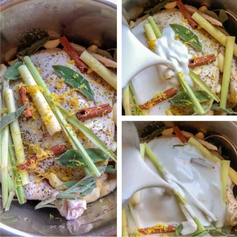 photo collage of chicken in coconut milk with lemongrass and Thai basil