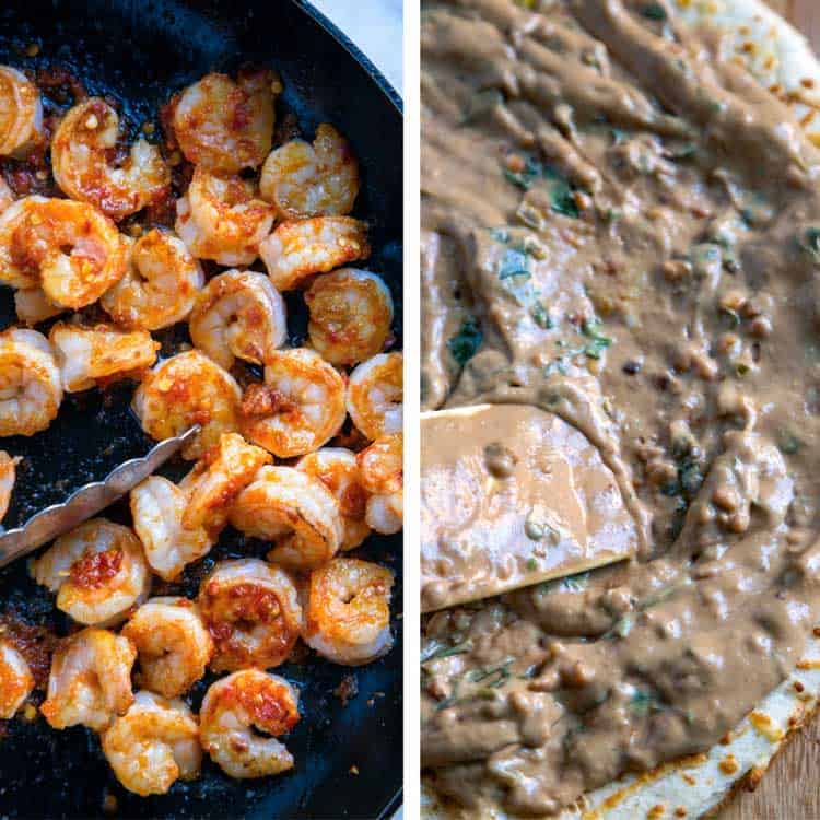 photo collage: on left, sauteing shrimp. On right, spreading peanut butter sauce onto pizza crust