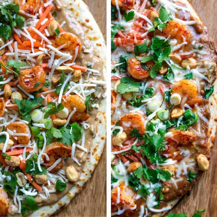 photo collage of Thai pizza, before and after baking