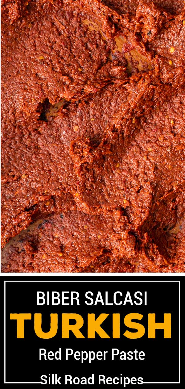 titled image shows close up of smooth red turkish pepper paste