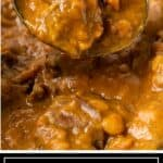 titled image of tender meat curry with lentils on spoon