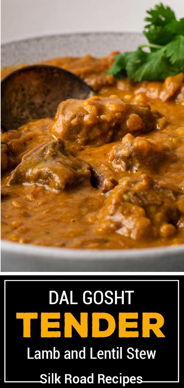 bowl of pressure cooked lamb and lentil stew