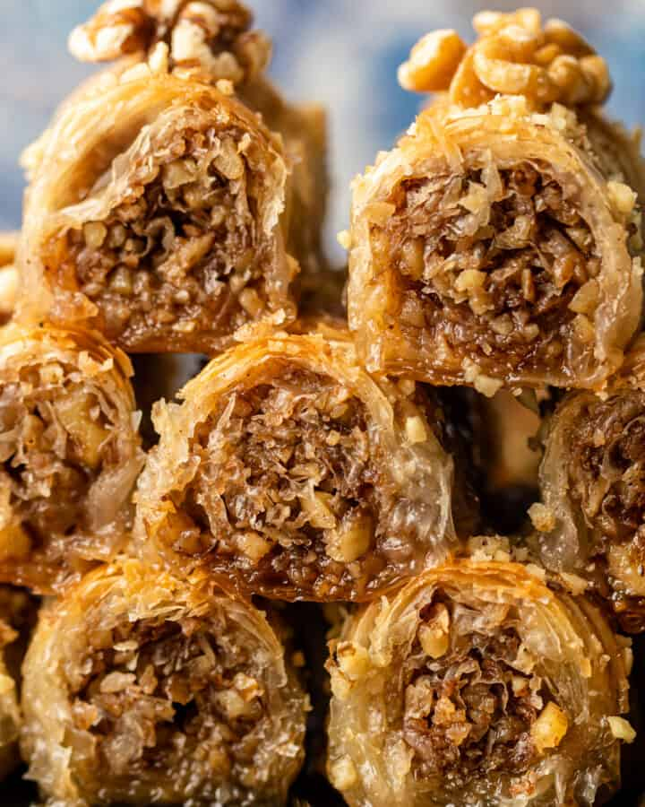 close up of baklava with walnuts on top