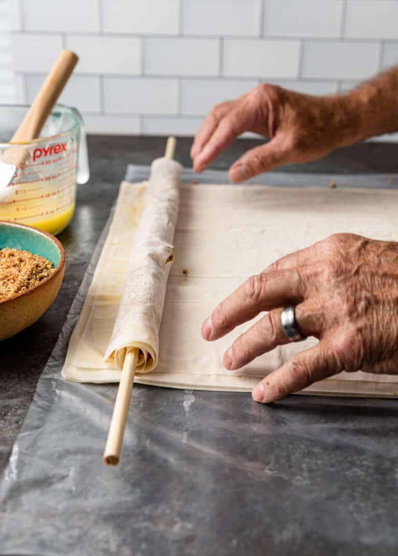 making greek baklava rolls