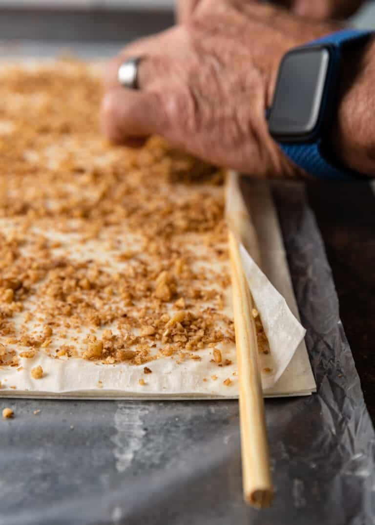 phyllo dough sprinkled with walnuts and cinnamon