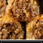 titled image shows closeup of phyllo dessert filled with cinnamon and nuts