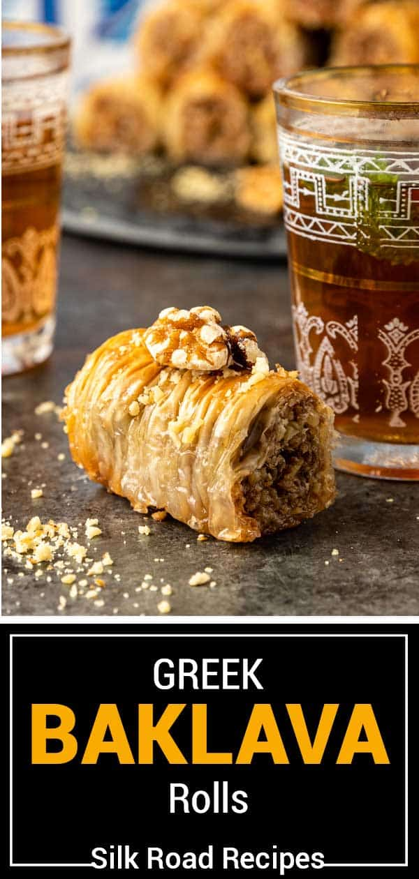 titled image shows Greek baklava on kitchen counter sprinkled with crushed nuts