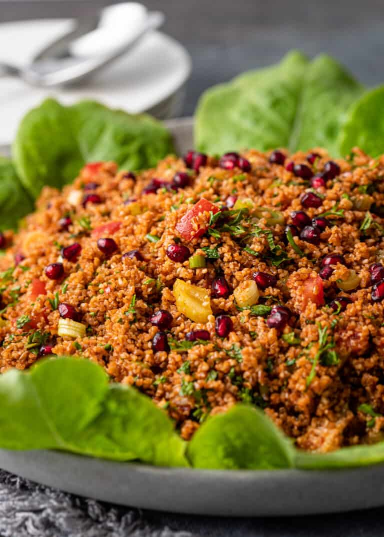 mediterranean bulgur salad on platter