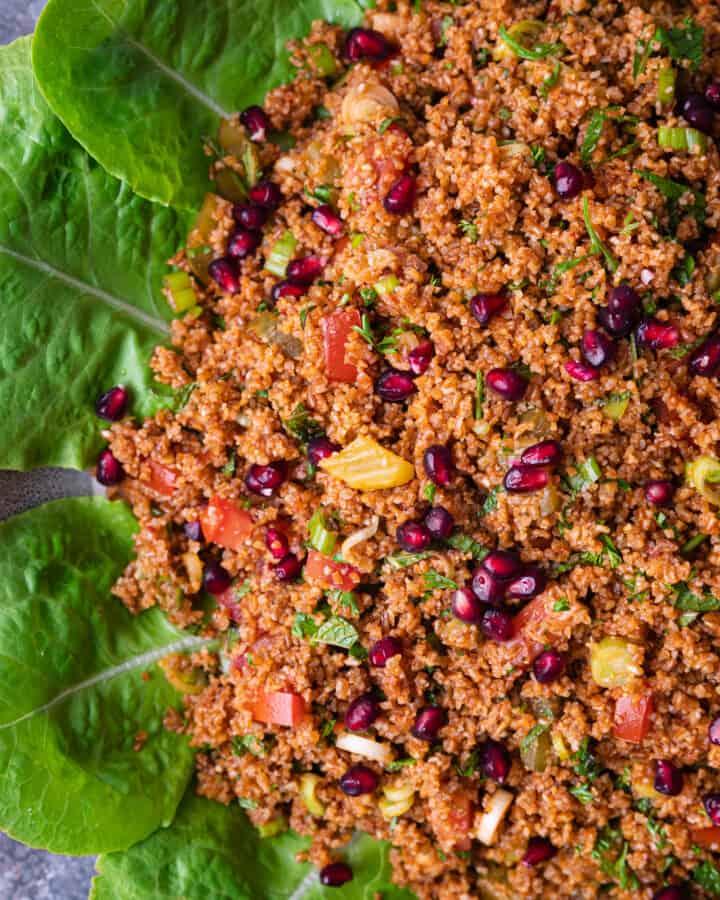 overhead: platter of kisir (turkish salad)