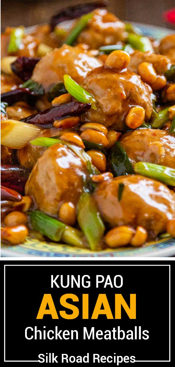 titled image shows close up of spicy Chinese meatballs in peanut sauce