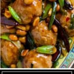titled image of ground chicken Chinese meatballs with dry roasted peanuts and spicy Thai chiles