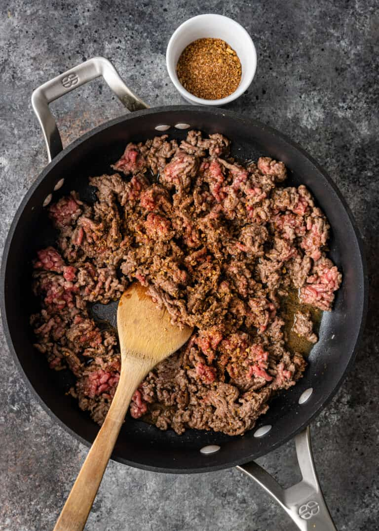 overhead: browning ground lamb in skillet
