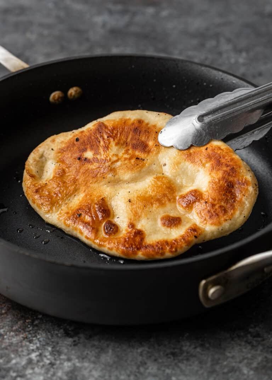 pan frying dough in oil
