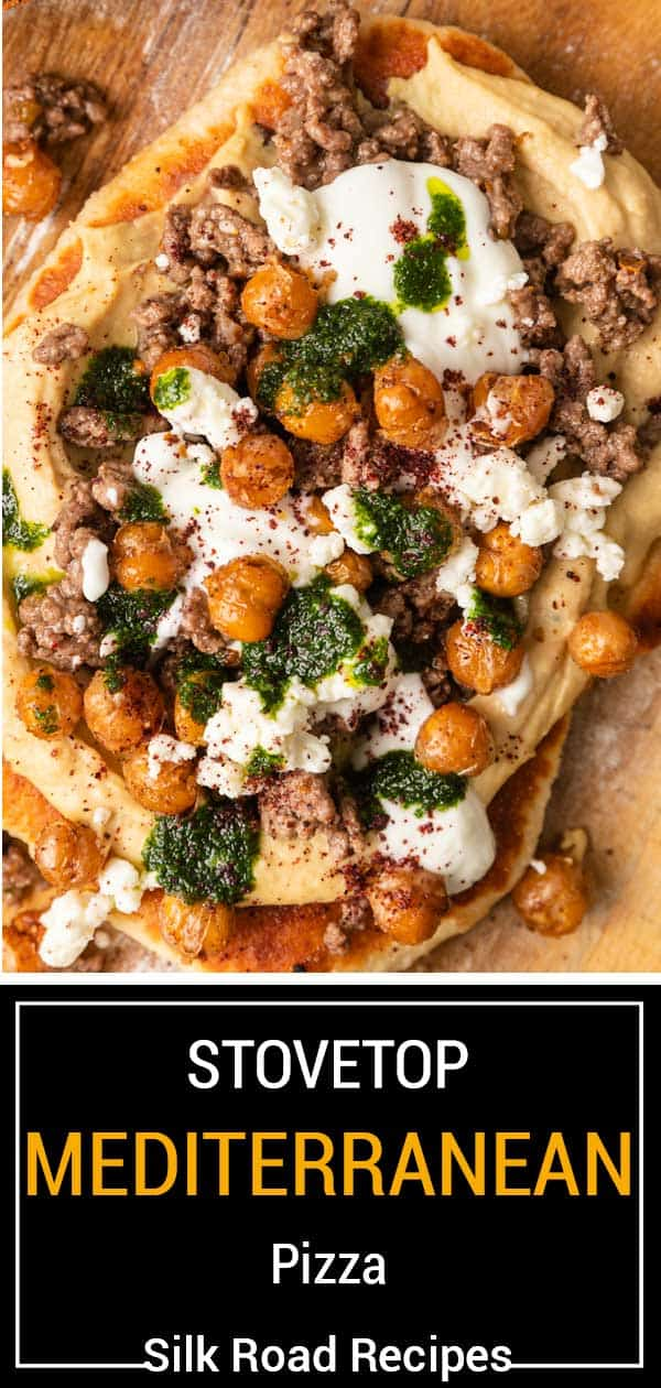titled image shows mediterranean pizza with lamb, roasted chickpeas, feta and lemon yogurt