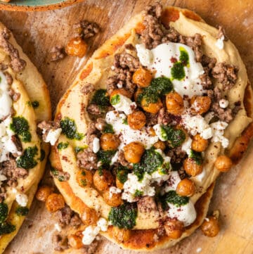 overhead: mediterranean pizza with lebanese toppings