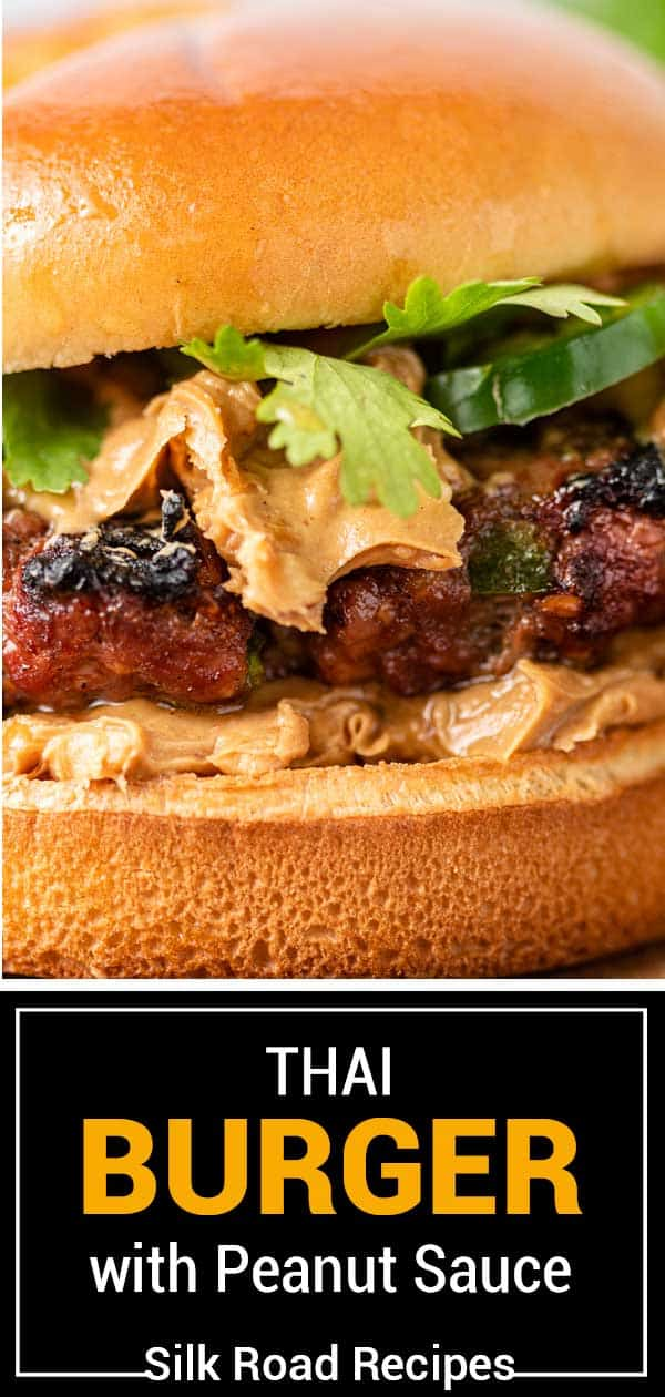 titled image: pork and beef burgers topped with spicy peanut sauce