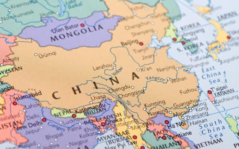 detailed map of china and surrounding countries