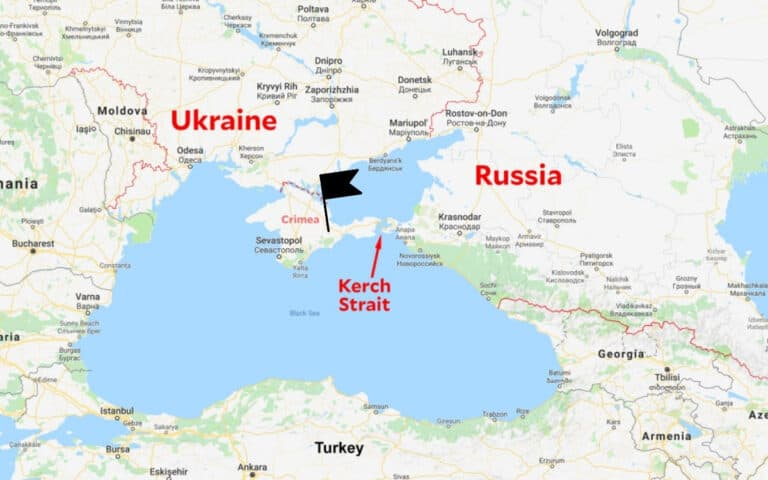 google map of crimea and kerch strait to russia